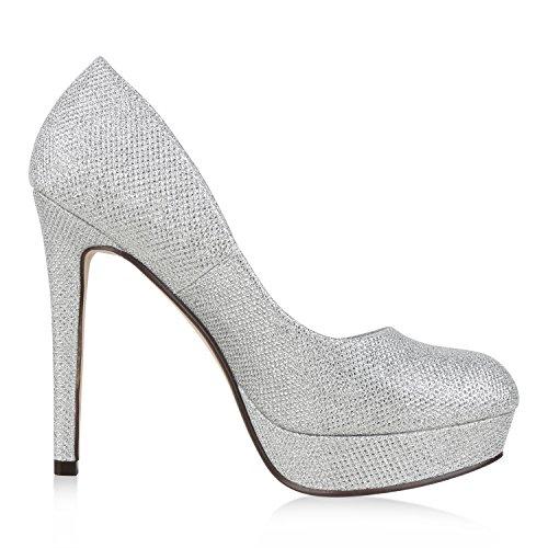napoli-fashion Damen Plateau Pumps Stiletto High Heels Glitzer Party Schuhe Abendschuhe Lack Metallic Plateauschuhe Hochzeit Jennika Silber Silber