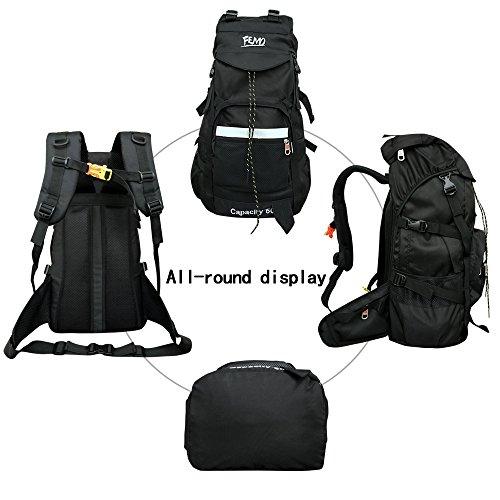 Imagen de  de senderismo femo 50l gran capacidad impermeable tela de nylon senderismo bolsa para hombres y mujeres, negro alternativa
