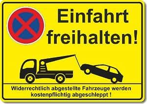 Einfahrt freihalten, Parken verboten, Schild , Aufkleber (Kunststoffplatte mit Aufkleber 300 x 210 mm)