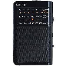AGPTek R09- Radio portatile (FM/AM/SW, Batteria ricaricabile, supporto USB Reader e carta di TF), (Carta Usb)