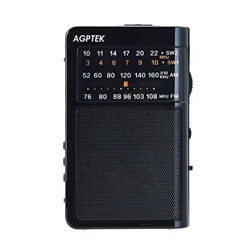 AGPTek R09- Radio portátil (FM/AM/SW, Recargable, soporte Lector USB y TF tarjeta), color negro