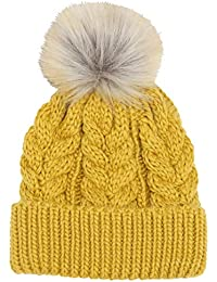 c20bfefe0bf M Co Ladies Coloured Cosy Cable Knit Faux Fur Pom Pom Winter Bobble Hat