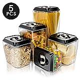 Masthome - 5 recipientes de almacenamiento de alimentos con tapas herméticas, libre de BPA, resistente olla de sellado 5pcs Plastic Storage Containers