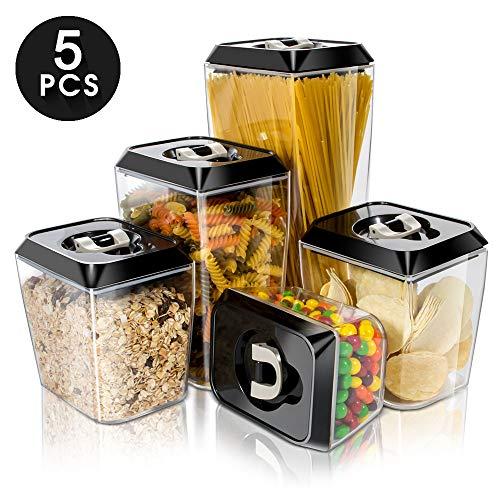 5 Pezzi Contenitori per Alimenti con Coperchi Ermetici, BPA Free Scatola per Alimenti Plastica Contenitori per Cereali Plastic Storage Containers per Zucchero,Biscotti,Caffè, Succhi,Pasta Masthome