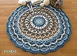 Tapete tejido a mano redondo, pieza única, modelo Ondas mezcla de algodón, viscosa y lino, azul y blanco, mandala 40 cm.