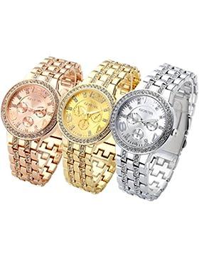 JSDDE Uhren,3x Strassstein Design unecht in Chronograph Optik Unisex Armbanduhr,Klassisch Edelstanl Panzerarmband...