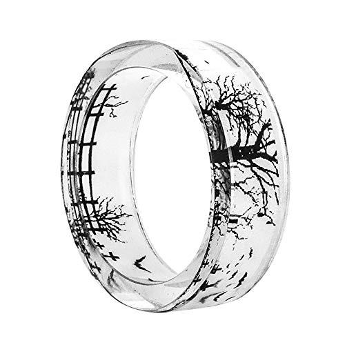 AchidistviQ Ring für Frauen, Fledermausbaum, Grabstein, Halloween, Fingerring, Party-Schmuck, Kunstharz, farblos, 19 mm (Farbe Halloween Grabstein)