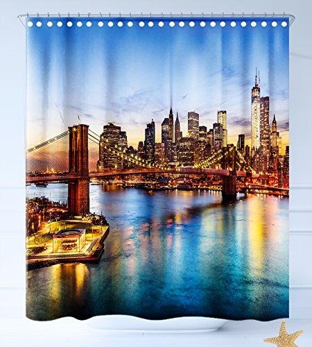 Haixia Wasserabweisend Stoff Duschvorhang Vereinigten Staaten New York City Skyline über East River Brooklyn Bridge Twilight Dekorative Blau Dark Orange Gelb, Mehrfarbig, 69 inch X 70 inch