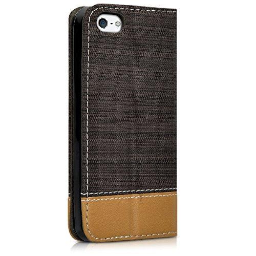 kwmobile Hülle für Apple iPhone SE / 5 / 5S - Bookstyle Case Handy Schutzhülle Textil mit Kunstleder - Klapphülle Cover Altrosa Braun .Anthrazit Braun