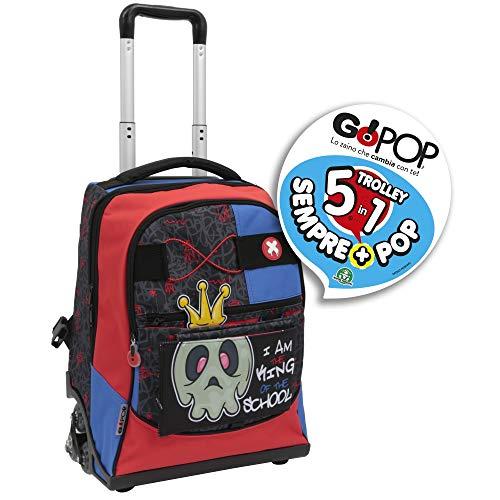 Giochi preziosi gopop 19 trolley spinner nightmare sacca, 47 cm, multicolore