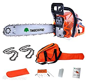 "TimberPro CS-6150 62cc 20"" Petrol Chainsaw with 2 Chains, Carry Bag and Assisted Start"