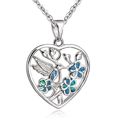 MATERIA by Matthias Wagner KA-259 Pendentif colibri en forme de cœur en argent 925 et opale Vert Livré dans une boîte cadeau