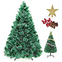 SINCHER 6ft Pine Needle Tree Encrypted Artificial Christmas Tree Natural 400 Branch Conifer with Snowflake White Point.Free Decoration Accessories