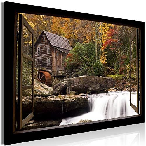 murando - Bilder Fensterblick 120x80 cm Vlies Leinwandbild 1 TLG Kunstdruck modern Wandbilder XXL Wanddekoration Design Wand Bild - Wald Landschaft Natur Wasserfall c-C-0386-b-a