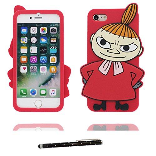 """Coque iPhone 7 Plus Cover Cartoon 3D nuages blancs Rainbow Colorful, TPU Flexible Durable iPhone 7 Plus Étui iPhone 7 Plus Case 5.5"""" Shock Dust Resistant et stylet # 2"""