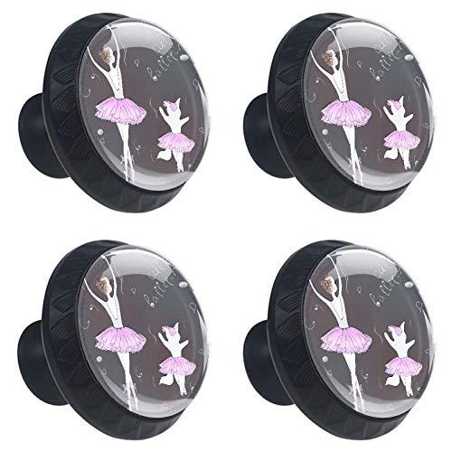 EZIOLY - Tiradores para cajones de ballet de niña y gato, 30 mm, 4 tiradores de cristal para armarios de cocina