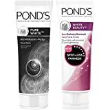 Pond's Pure White Anti Pollution With Activated Charcoal Facewash, 100g And Pond's White Beauty Sun Dullness Removal Daily Fa