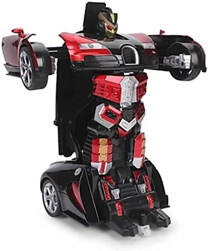PLAY DESIGN Robot Sports Car Toy with Convertible Robot with Lights, Music & Bump & Go Function for Kids,