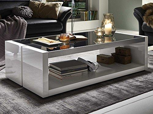 Moebella Couchtisch weiß Hochglanz mit Glasplatte Evo 130x70cm Glastisch Aluminium gebürstet