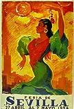 Affiche Poster publicitaire de plaque métallique avec dessin retro vintage de la Catalogne / l'Espagne. Tin sign. 30 cm x 20 cm (FERIA DE SEVILLA 1954)