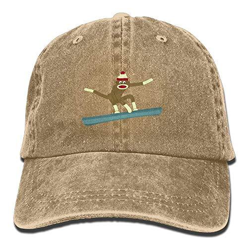 Kotdeqay Sock Monkey Snowboarder Vintage Washed Dyed Cotton Twill Low Profile Adjustable Baseball Cap Natural 32351