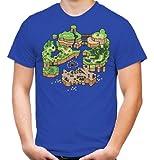 Mario Map T-Shirt | Super | Games | Retro | Männer | Herrn | Konsole | Arcade | SNES | Nintendo | Kult | Blau (L)