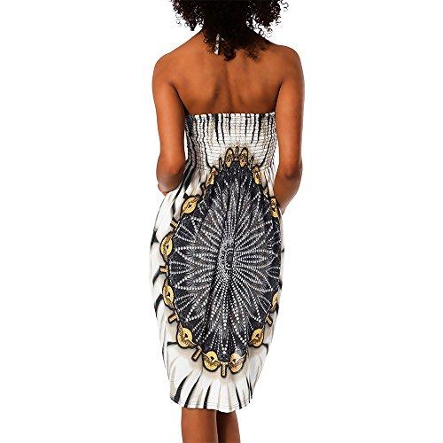 H112 Damen Sommer Aztec Bandeau Bunt Tuch Kleid Tuchkleid Strandkleid Neckholder F-021 Schwarz