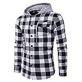 semen Herren Hemd Flanellhemd Kapuze gebürstete Baumwolle kariert Langarm Herbst Slim Fit Modern Freizeithemd Hooded Sweat Sleeve Shirt Jacke Winter