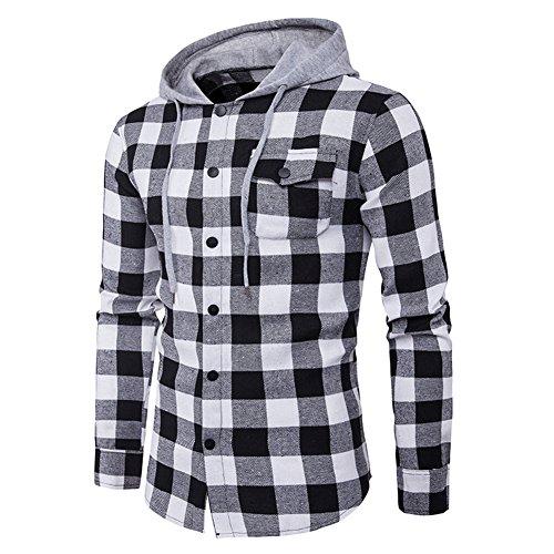 semen Herren Hemd Flanellhemd Kapuze gebürstete Baumwolle kariert Langarm Herbst Slim Fit Modern Freizeithemd Hooded Sweat Sleeve Shirt Jacke Winter Button Shirt Jacke