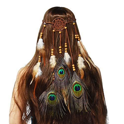 Party A Everyday's Kostüm - Amorar Frauen Bohemien Federhaarband Traumfänger Stirnband Haarband Haarschmuck Hippie Boho Indisch Kopfstück Haarbänder für Party