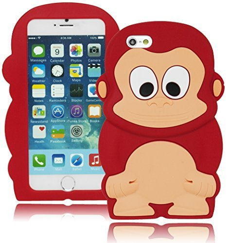 Bastex Heavy Duty Schutz Widerstandsfähige Silikon Case - ROT Happy Monkey Design für Apple iPhone 6, 11,9 cm (Monkey Red Designs)