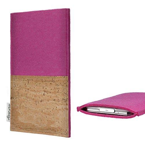 flat.design Tablethülle Evora mit Korkfach für Kiano Slimtab 8 3G - Schutz Case Etui Filz Made in Germany in pink mit Korkstoff - passgenaue Tablet Tasche für Kiano Slimtab 8 3G
