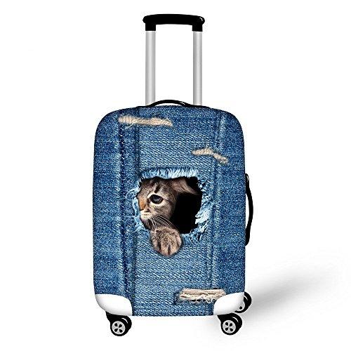 Hysenm Housse de Protection pour Valise 66-71cm / 26-28 pouces Zippé Élastique Résistant Couverture Bagage Voyage Animal chat triste L