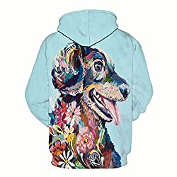 Dinglong Unisex Cool 3D Animal Dog Printed Pullover Long Sleeve Hooded Sweatshirt Tops Blouse - Couples Clothing - Women and Men Hoodies