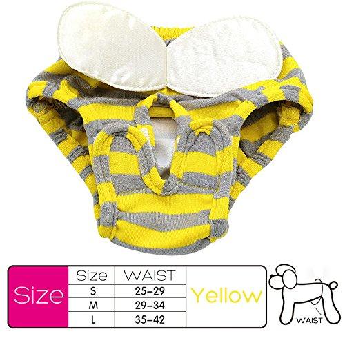 rungao Pet Hund weiblich niedlichen Hose Baumwolle Sanitär Unterwäsche Windeln mit Elastic Band L-yellow (Hundewindeln Männliche Waschbar Großen)