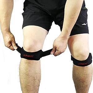 2er-Pack Patella-Kniebandagen mit Silikonpolster für Sehnenentzündung, Arthritis, Läufer-Knie, Jumper-Knie (schwarz)