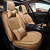 HAHAHA Full Set Universal Surrounded Waterproof Leather Car Seat Covers Protector Adjustable Removable Auto Seat Cushions For Ford-fiesta Toyota Audi BMW,ect,Beige