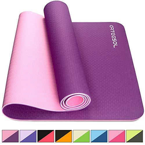 arteesol Yogamatte rutschfest Gymnastikmatte Schadstofffrei TPE Naturkautschuk Dünn Yoga Matte Fitnessmatte für Yoga Pilates Fitness 183cm x 80cm x 6mm (Fuchsia, 183x80x0,6cm)