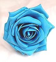 Turquoise Open Rose Artificial Hair Flower Clip Buttonhole Corsage by Fabulous Fascinators