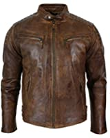 Mens Slim Fit Retro Style Zipped Biker Jacket Real Washed Leather Tan Brown Urban