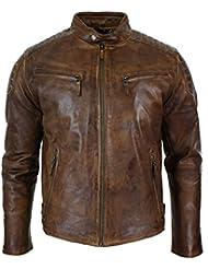Veste hommes Biker vrai cuir taille mince Style Rétro Urbain délavé fermeture éclair marron clair