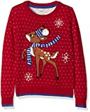 Yumi Girl's Reindeer Jumper, Red, 11-12 Years (Manufacturer Size:11/12 Years)
