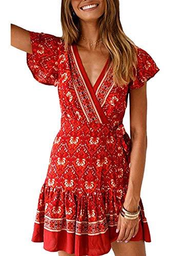 Durio Sommerkleid Damen Kleider Kurz Boho Kleid A-Linie Minikleid V-Ausschnitt Strandkleid mit Gürtel A-Weinrot EU 36 (Herstellergröße S) - Schickes Kurzarm-minikleid
