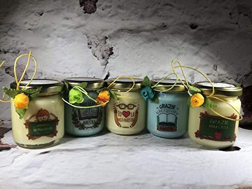Grazie Maestra 5 vasetti con candele di cera di soia e oli essenziali - Regalo per la Maestra Fine anno scolastico Ritorno a scuola Regalo di Nat