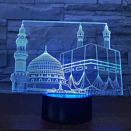 HPBN8 3D Islam Islamisches Schloss Lampe USB Power 7 Farben Amazing Optical Illusion 3D wachsen LED Lampe Formen Kinder Schlafzimmer Nacht Licht.