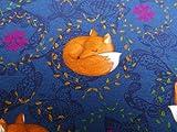 Glünz 0,5m Jersey schlafender Fuchs/dunkelblau / Kinderstoff / 16,50€/m