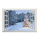 Hoxin 3D Weihnachten Wand Boden Decke Dekoration, Weihnachtsmann Elch Schnee Baum 3D Home Sticker (1 Pc) (8)