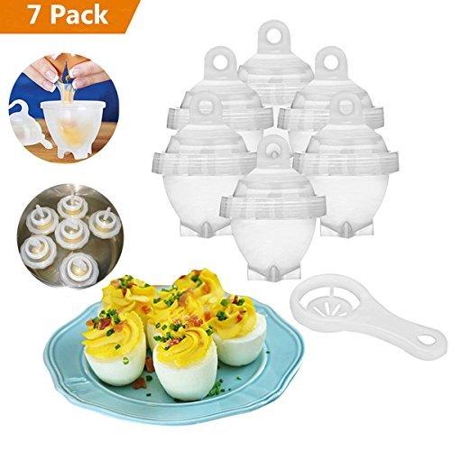 7PCS Eierkocher, Eggies Hard Boil Egg Cooker Egg Maker Ohne Schale Antihaft-Silikon Eierkocher Perfekter Eier Kochen Macht Liebe FrüHstüCk für Ihre Kinder