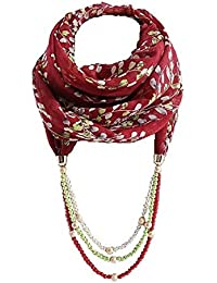 Girlz! Maroon Chiffon Flower Printed Scarf/Stole With Pearl Pendant For Women