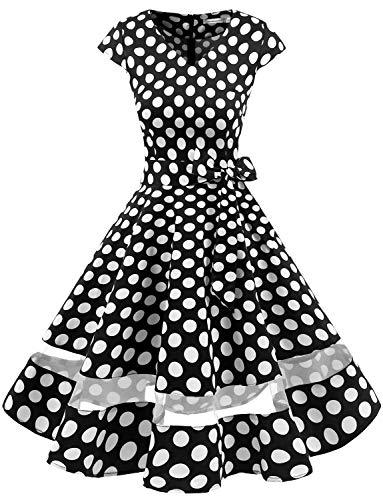 Gardenwed 1950er Vintage Retro Cocktailkleid Cap Sleeves Rockabilly Kleider Damen Schwingen Petticoat Faltenrock Black White Dot XS
